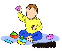 G55-09 積み木で遊ぶ赤ん坊