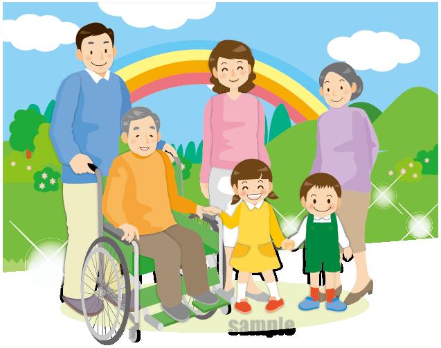 G56-01 車椅子の男性と家族のイラスト