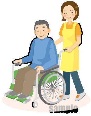 G56-03 車椅子・介護師イラスト