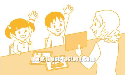 G96-03 子ども向け学習塾レッスンシーンイラスト
