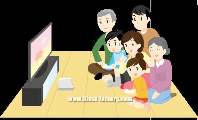 G98-01 家族でゲームを楽しむシーンイラスト
