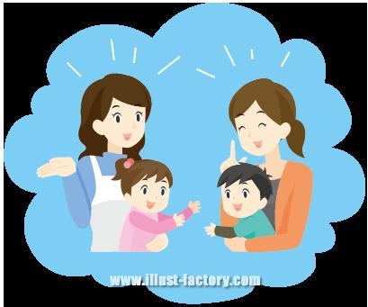 G98-02 母親が子どもを抱っこして立ち話シーン