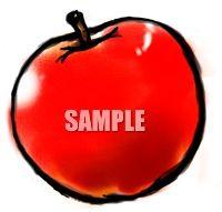 H07-19 リンゴのイラスト制作例(筆絵風)