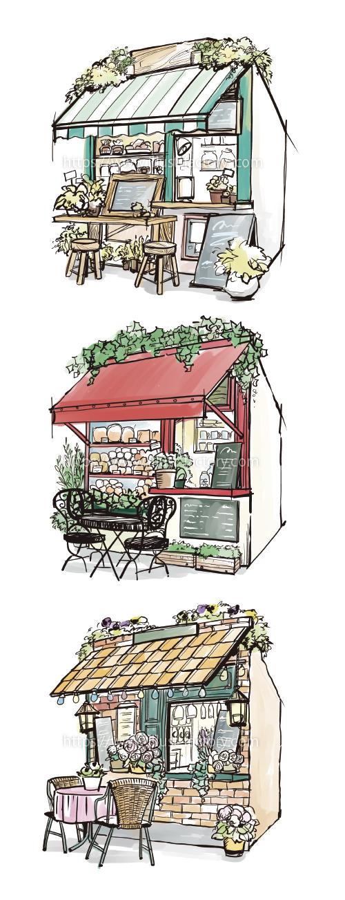 H103 ファサード(店舗外観)のペン画水彩風イラスト制作
