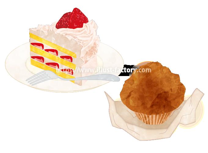 H104-02 水彩風ケーキのイラスト制作