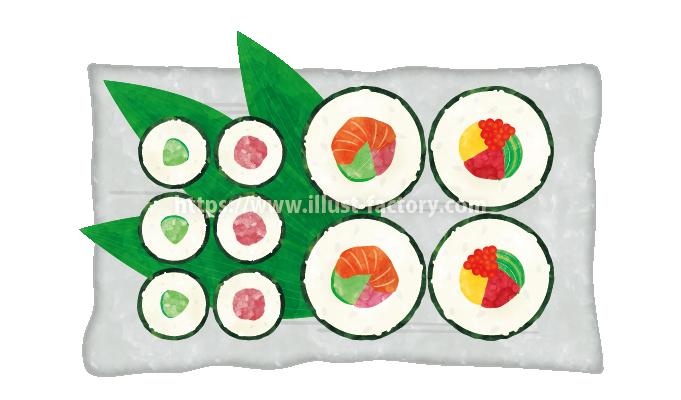 H104-03 水彩風巻き寿司のイラスト制作