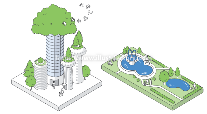 H106-3 俯瞰街イラスト 都市計画