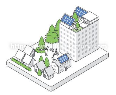 H106-4 俯瞰街イラスト 太陽光発電住宅