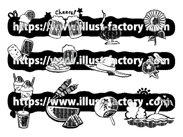 H111-02 手描き風夏の小物イラスト モノクロ