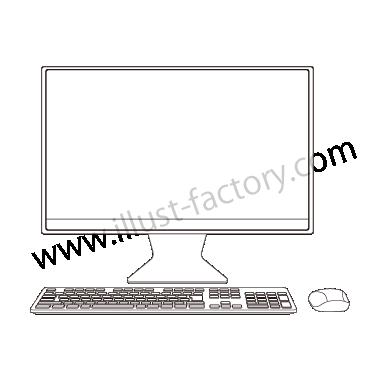 H120-01 線画タッチイラスト・デスクトップPC