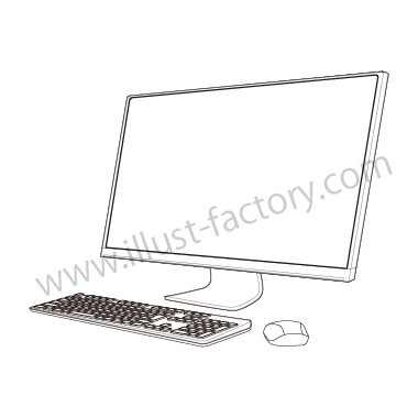 H120-02 線画タッチイラスト・デスクトップPC