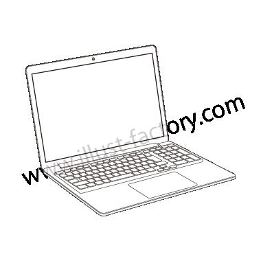 H120-05 線画タッチイラスト・ノートPC