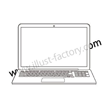 H120-06 線画タッチイラスト・ノートPC