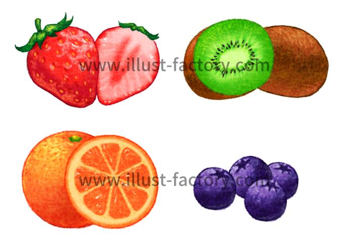 H124 手描き風の果物イラスト