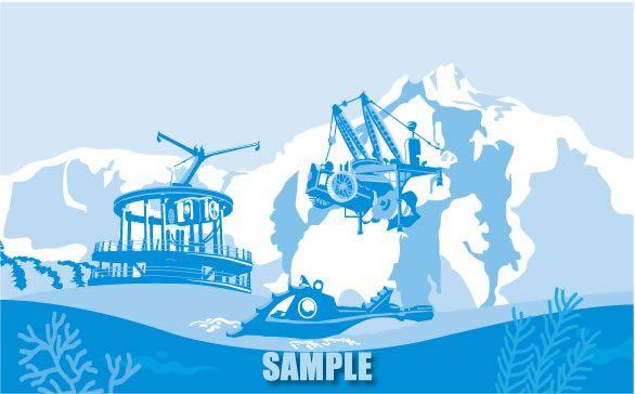 H15-02 テーマパーク風景イラスト製作 ミステリアスアイランド