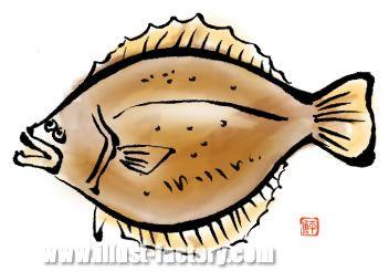 H18-01 魚のイラスト ヒラメ