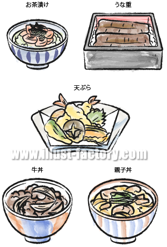 H19-01 料理のイラスト お茶漬け、うな重、天ぷら、牛丼、親子丼
