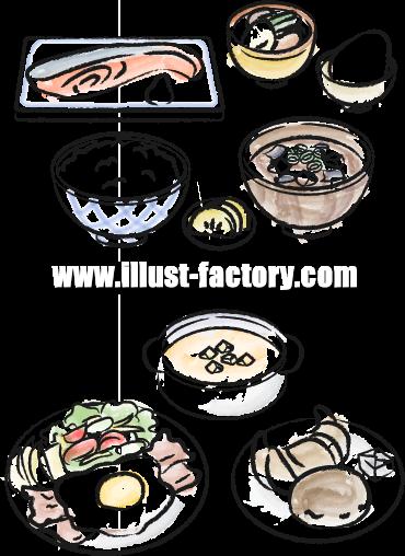 H19-02 料理のイラスト 和食定食 洋食定食