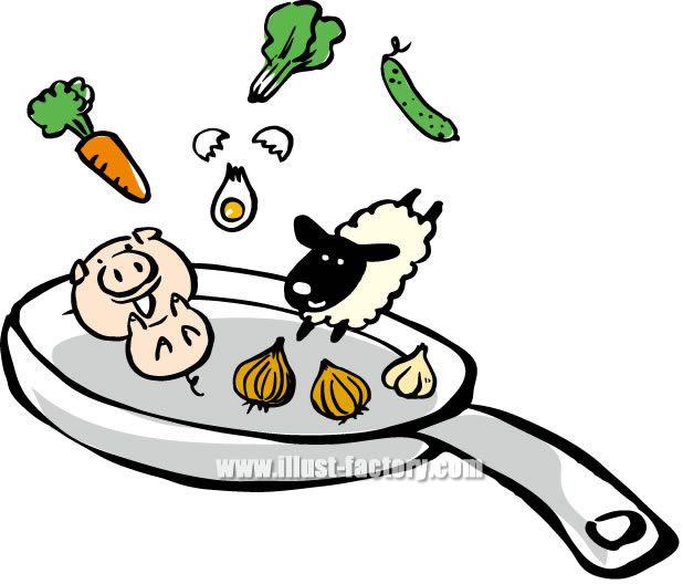 H29-01 フライパンで踊る豚、羊、人参、卵、タマネギ、ニンニク、キュウリ等の食材イラスト制作例