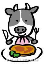 H29-02 ステーキを食べる牛のイラスト