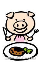 H29-03 ハンバーグを食べる豚のイラスト