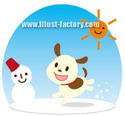 H33-01 雪で遊ぶ犬