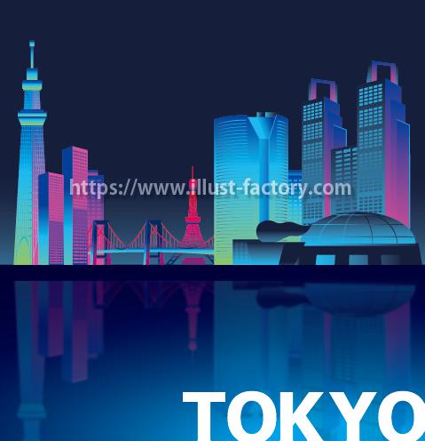 H83-01 観光名所の夜景タッチのイラスト制作 東京