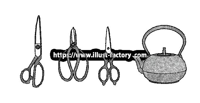 H99-03 裁鋏、植木鋏、キッチンばさみ、鉄瓶