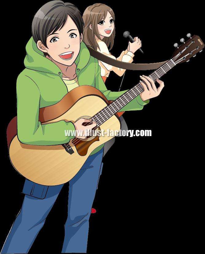 L23-03 アニメ風人物イラスト アコースティックギター、ボーカル