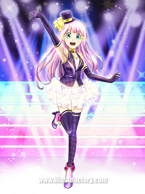 L28 アニメ風タッチのアイドル少女のイラスト制作