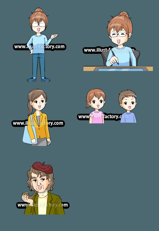 L46-02 画家、絵かき、母親、子供