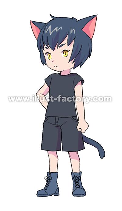 L47-04 動物擬人化のイラスト制作 黒猫
