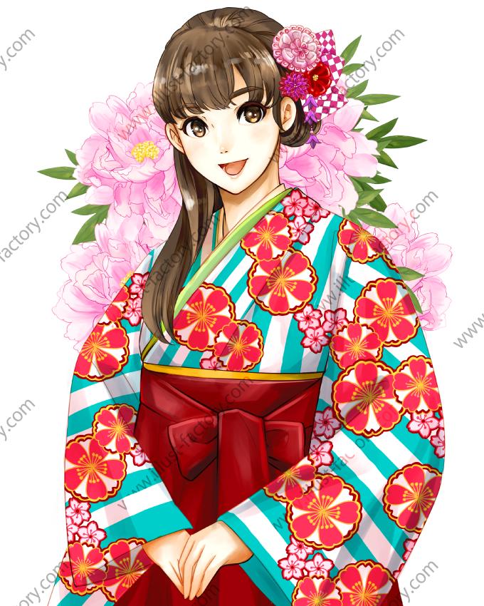 L50-01 少女漫画風和服姿の美少女のイラスト制作