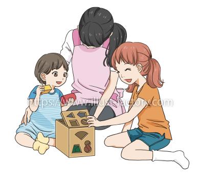 L54-04 おもちゃで遊ぶ幼児と子供、保育士