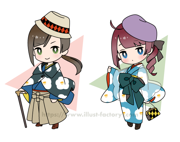 L62 和服のSDキャラクターイラスト