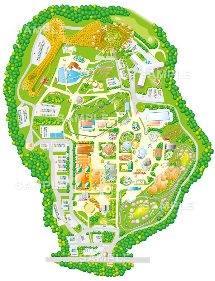 M01-1 このイラストマップは、テーマパークの園内マップです。