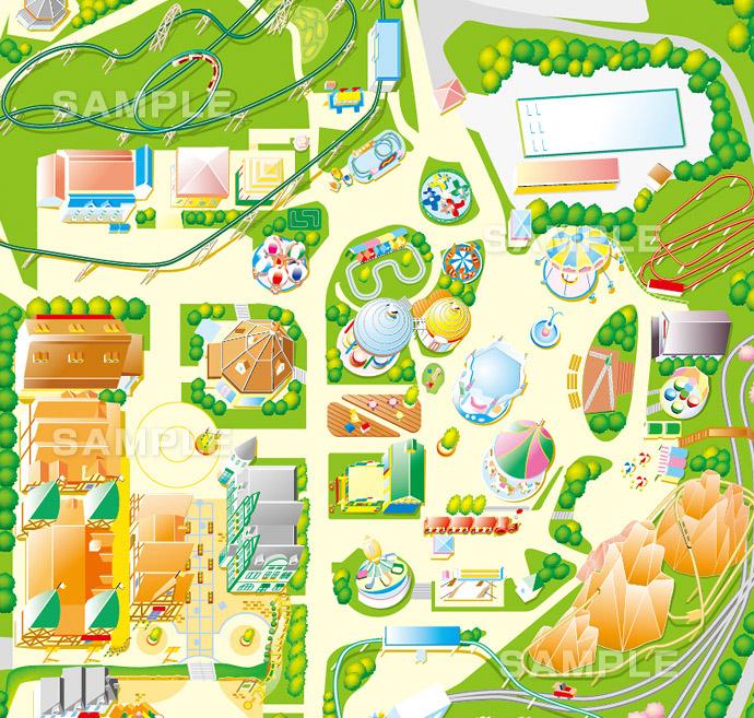 M01-3 このイラストマップは、テーマパークの園内マップの拡大イメージ