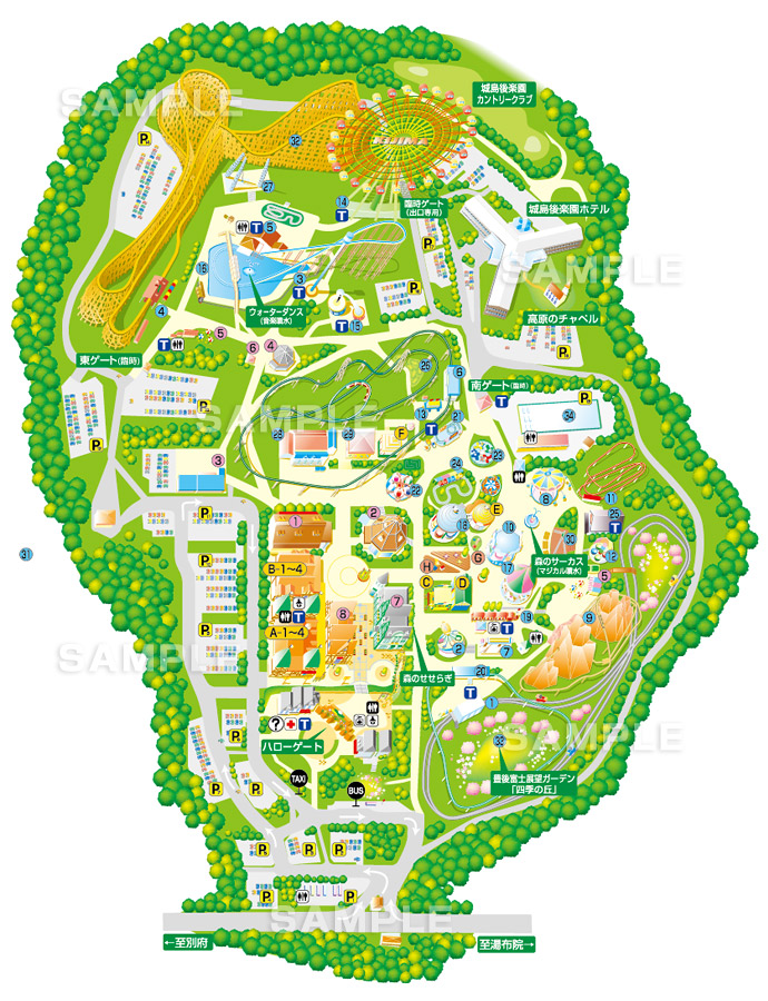 M01-3 このイラストマップは、テーマパークの園内マップ名称や番号を入れたイメージ