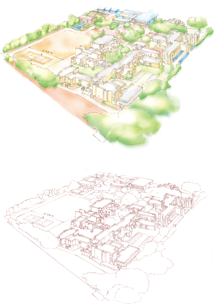 M21 手描きで描いた学校校舎のイラスト