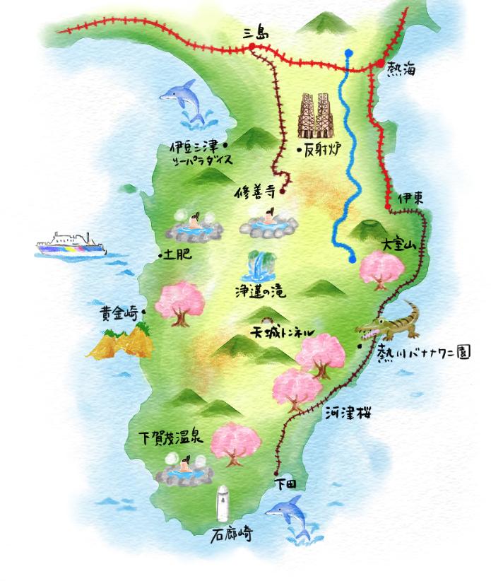 M25 水彩画風観光イラストマップ制作例 伊豆観光案内マップ