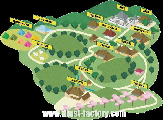 M33 立体的なタッチイラストマップ制作例 観光村案内図