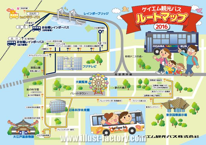 M36 かわいい観光ルートイラストマップ制作例 お台場観光バスルートマップ