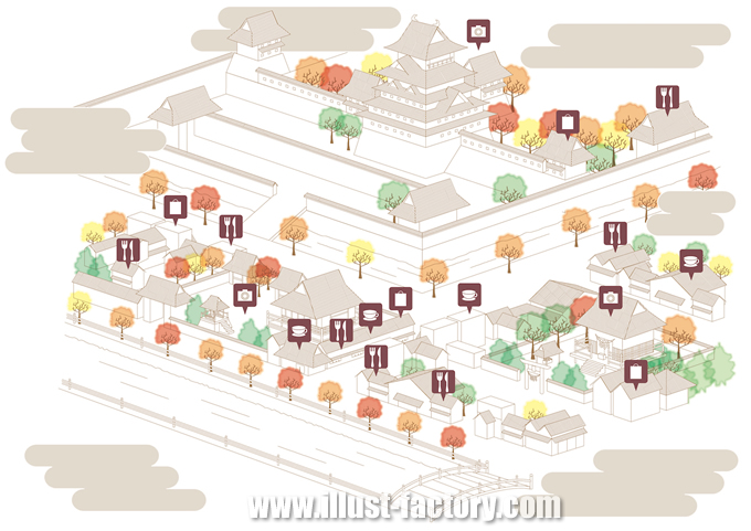 M38 スタイリッシュな観光イラストマップ制作例 城下町周辺地図