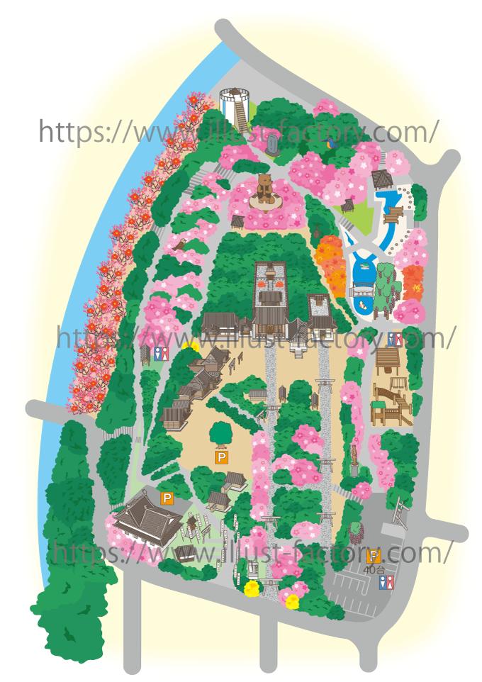 M44 細かい描き込みの鳥瞰図イラストマップ制作例・神社境内の案内図