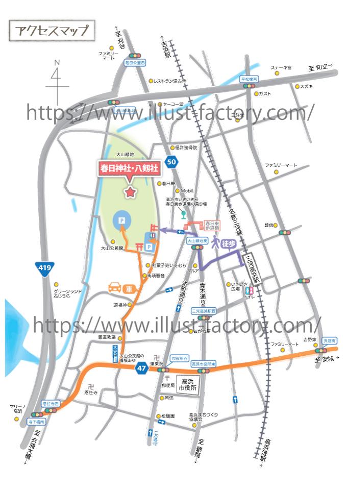 M45 シンプルなアクセスマップ制作例 神社へのアクセスマップ