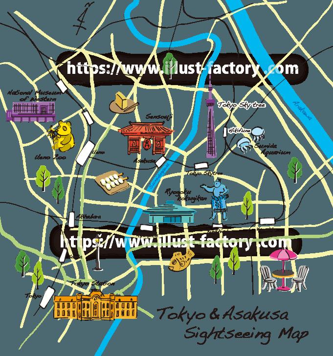 M46 おしゃれなペン画風イラストマップ制作例 東京・浅草観光マップ