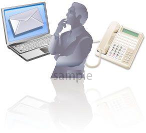 S06-01 パソコン、電話、人のシルエットのイラスト製作例