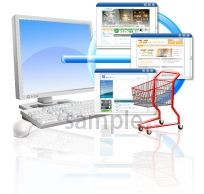 S06-12 パソコンとショッピングカートイラスト製作例