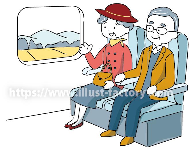 A261 シンプルでかわいい 旅行する老夫婦