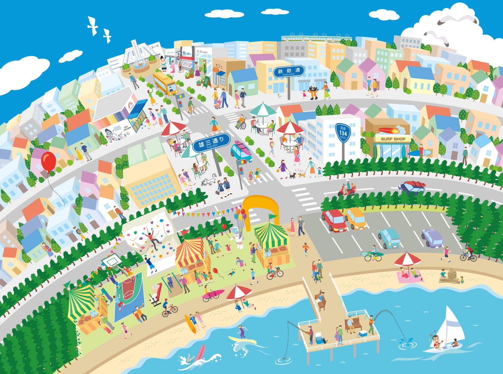 M40 カラフルな実在の街並み俯瞰イラスト制作例 海辺の街イラスト